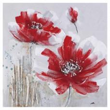 obraz - malba na plátně 60x60cm červený květ