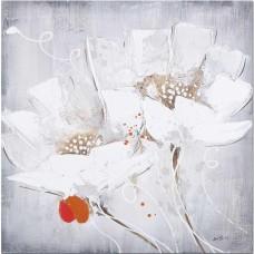 obraz - malba na plátně 60x60cm dva bílé květy