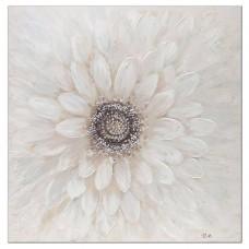 obraz - malba na plátně 100x100 bily květ