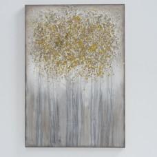 obraz - malba na plátně 70x100 zlatostříbrný strom