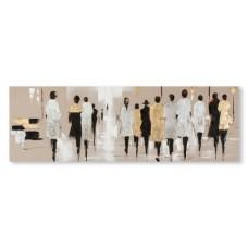 obraz - malba na plátně 150x50cm LIDÉ