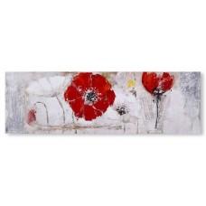 obraz - malba na plátně 150x50cm máky 18688